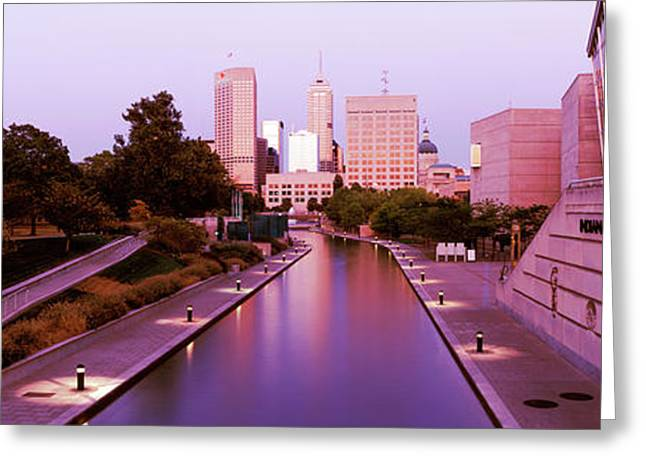 Canal In A City, Indianapolis Canal Greeting Card by Panoramic Images