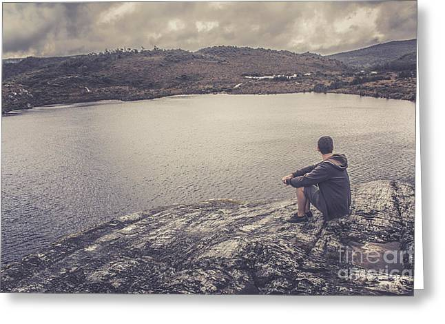 Cradle-mountain Greeting Cards - Candid travel man at Cradle Mountain Lookout Greeting Card by Ryan Jorgensen