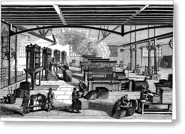 Candle Factory Greeting Card by Science Photo Library
