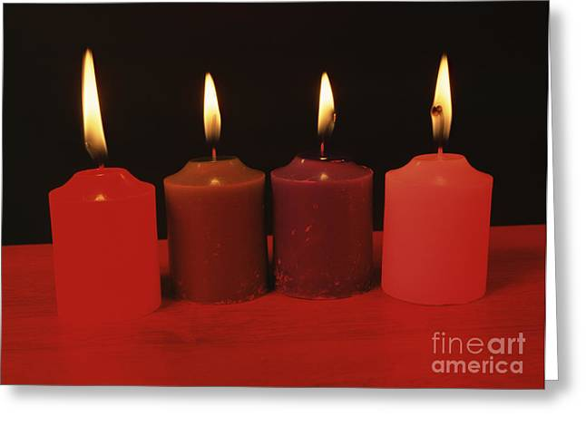 Absorb Greeting Cards - Candles Under Red Light Greeting Card by Andrew Lambert Photography