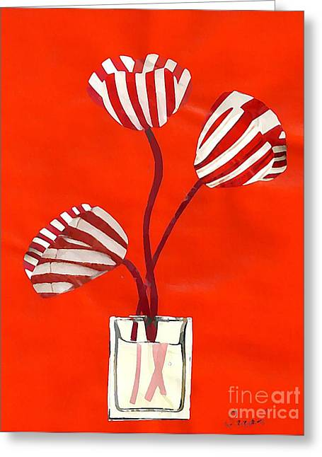 Candy Stripe Tulips Greeting Card by Sarah Loft