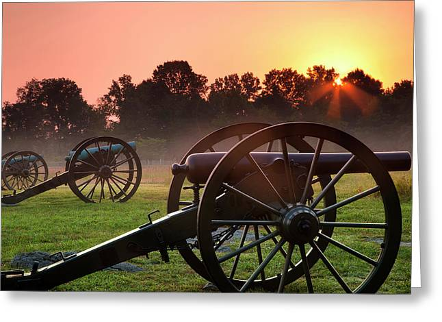 Cannon At Dawn In The Stones River Greeting Card by Brian Jannsen