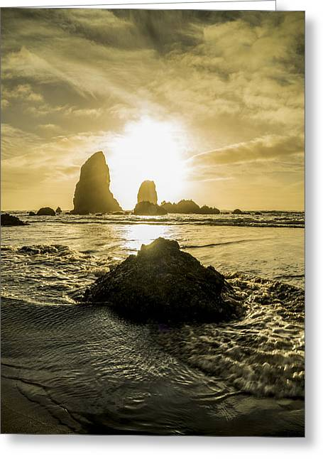 Cannon Beach Greeting Cards - Cannon Beach Sunset Greeting Card by Peter Irwindale