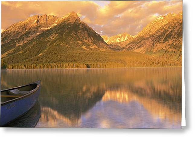 Canoe Photographs Greeting Cards - Canoe Leigh Lake Grand Teton National Greeting Card by Panoramic Images
