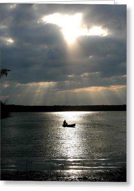 Canoe Photographs Greeting Cards - Canoe Sunbeams Greeting Card by Don Kosterman