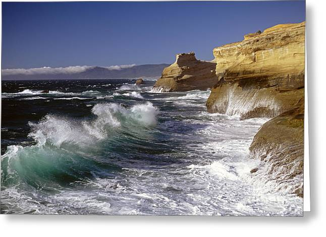 State Parks In Oregon Greeting Cards - Cape Kiwanda with breaking waves Greeting Card by Jim Corwin