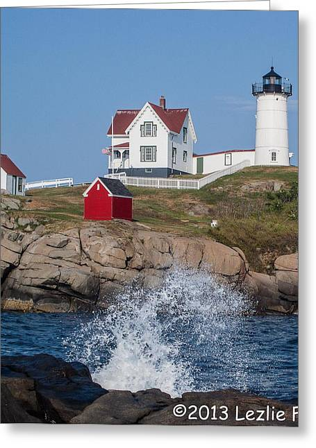 Cape Neddick Lighthouse Greeting Cards - Cape Neddick Greeting Card by Lezlie Faunce