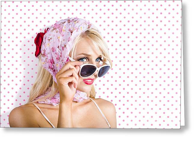 Glamour Optics Greeting Cards - Captivating woman looking at fashion copyspace Greeting Card by Ryan Jorgensen