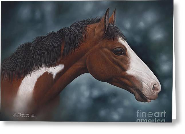 Quarter Horses Paintings Greeting Cards - Cara Blanca Greeting Card by Ricardo Chavez-Mendez