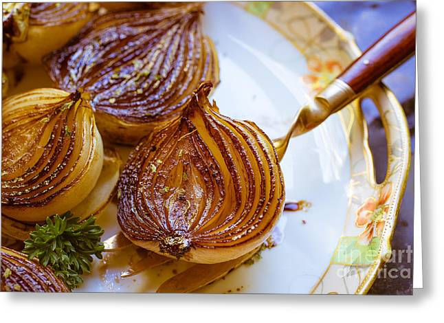 Dinner Greeting Cards - Caramelized balsamic onions Greeting Card by Edward Fielding