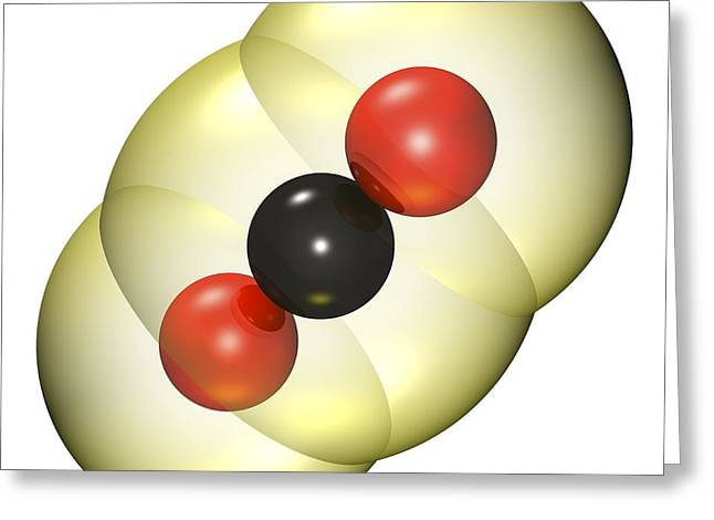 Carbon Dioxide Photographs Greeting Cards - Carbon Dioxide Molecule Greeting Card by Russell Kightley