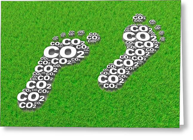 Carbon Dioxide Greeting Cards - Carbon footprint, conceptual artwork Greeting Card by Science Photo Library