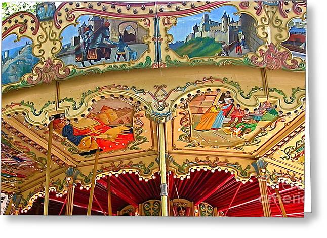 French Greeting Cards - Carcassonne Carousel Greeting Card by France  Art