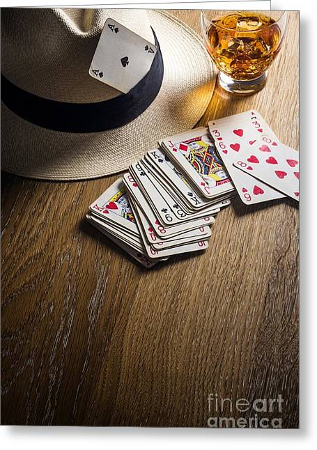 20s Greeting Cards - Card Gambling Greeting Card by Carlos Caetano