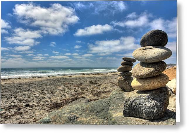 Stacked Rocks Greeting Cards - Cardiff Stacks Greeting Card by Peter Tellone