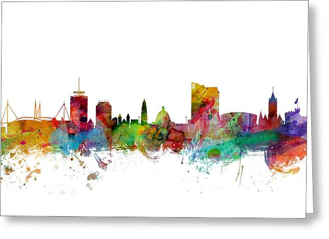 Cityscape Digital Art Greeting Cards - Cardiff Wales Skyline Greeting Card by Michael Tompsett
