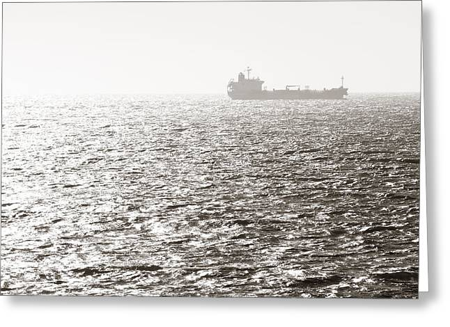 Downtown San Francisco Greeting Cards - Cargo ship Greeting Card by Songquan Deng