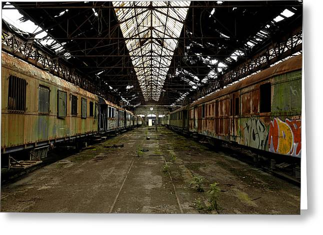 Creepy Pyrography Greeting Cards - Cargo trains in old train depot Greeting Card by Oliver Sved