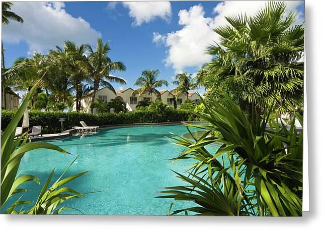 Carlisle Bay Hotel, Swimming Pool Greeting Card by Nico Tondini