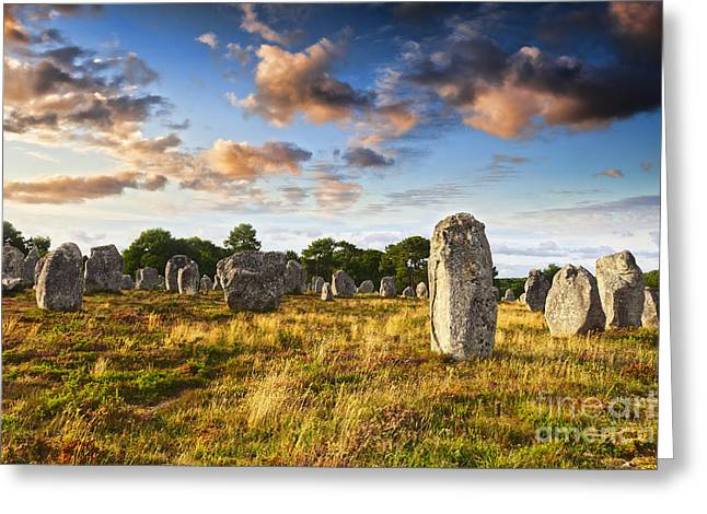 Megalith Greeting Cards - Carnac Alignments Brittany France Greeting Card by Colin and Linda McKie