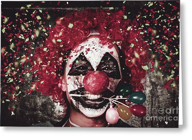 Scary Clown Greeting Cards - Carnival clown with balloon cake decoration Greeting Card by Ryan Jorgensen