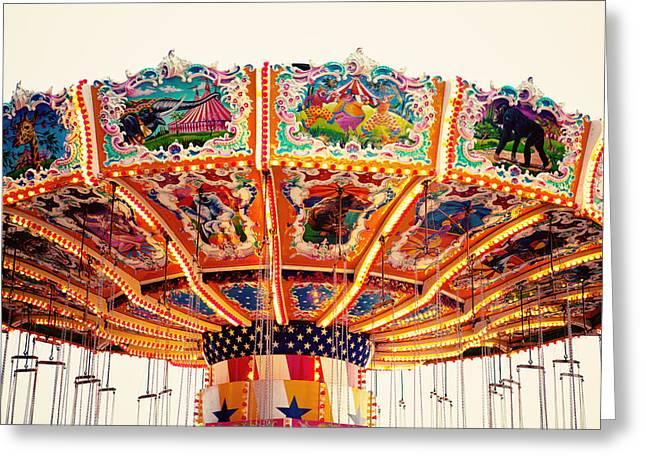 Carnival Art Greeting Cards - Carnival Swings Greeting Card by Kim Fearheiley