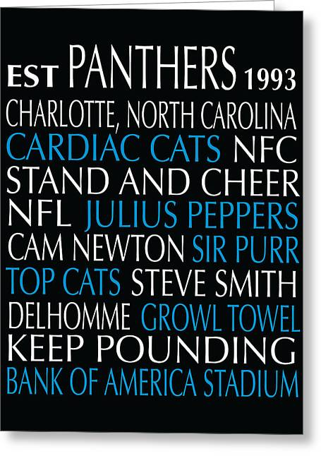Football Words Greeting Cards - Carolina Panthers Greeting Card by Jaime Friedman