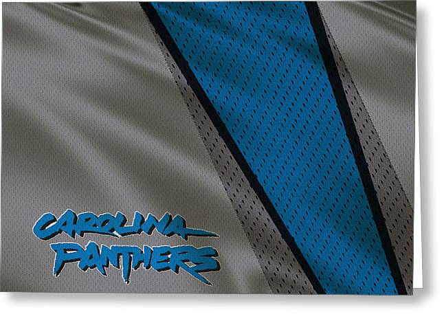 Panther Photographs Greeting Cards - Carolina Panthers Uniform Greeting Card by Joe Hamilton