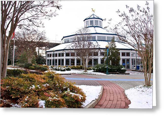 Cory Greeting Cards - Carousel Building in the Snow Greeting Card by Tom and Pat Cory