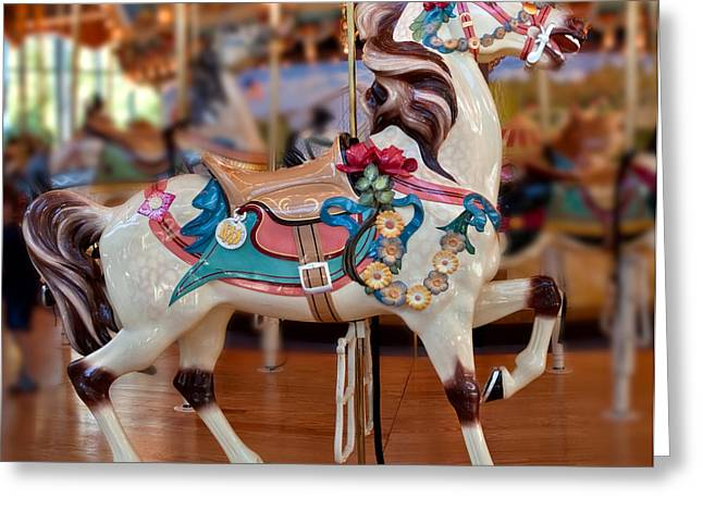 Beautiful Horse Photography Greeting Cards - Carousel Horse Greeting Card by Iris Richardson
