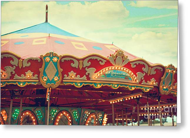 Carnival Art Greeting Cards - Carousel Greeting Card by Kim Fearheiley