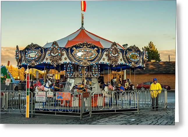 Amusements Greeting Cards - Carousel Greeting Card by Steve Harrington