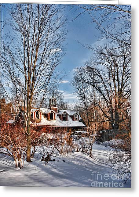 Carriage Greeting Cards - Carriage House in Snow Greeting Card by HD Connelly