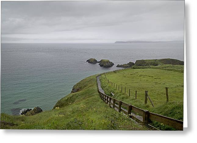 Modern Day Ruins Greeting Cards - Carrick-a-Rede Path Ireland Greeting Card by Betsy A  Cutler