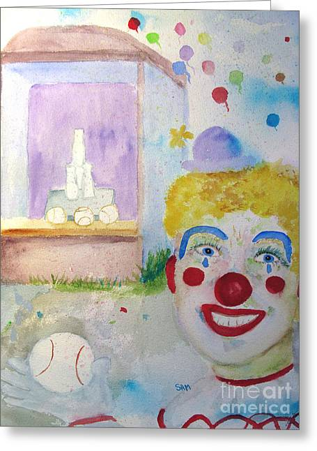 Softball Paintings Greeting Cards - Carrie the Clown Greeting Card by Sandy McIntire