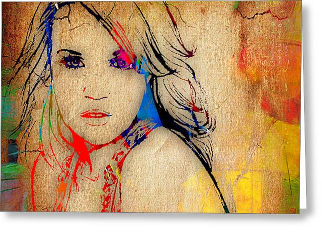 Country Greeting Cards - Carrie Underwood Painting. Greeting Card by Marvin Blaine