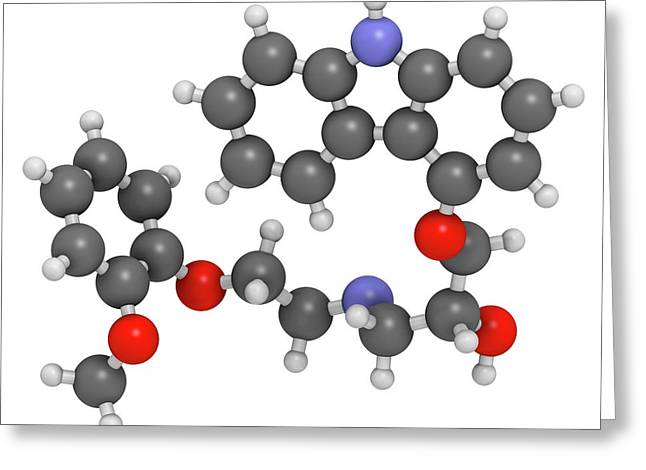 Carvedilol Molecule Greeting Card by Molekuul