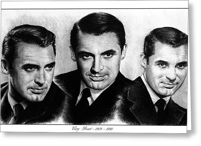 Movie Star Drawings Greeting Cards - Cary Grant Greeting Card by Andrew Read