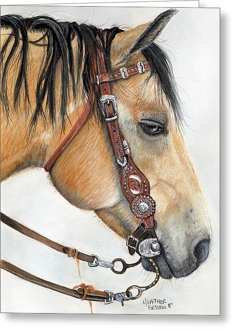 Horse Art Pastels Greeting Cards - Casa Greeting Card by Heather Gessell
