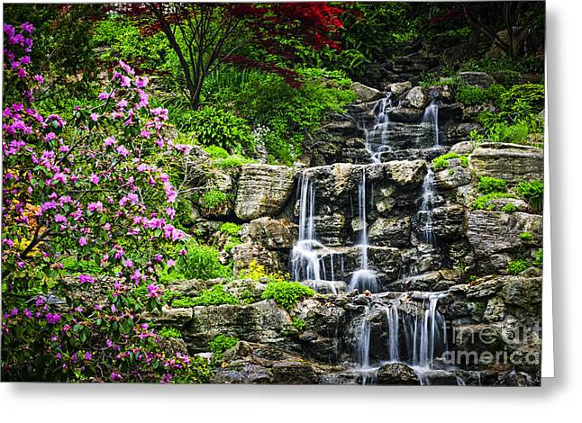 Garden; Water; Falling; Flower; Pond Greeting Cards - Cascading waterfall Greeting Card by Elena Elisseeva