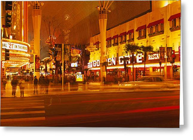 Night Life Greeting Cards - Casino Lit Up At Night, Fremont Street Greeting Card by Panoramic Images