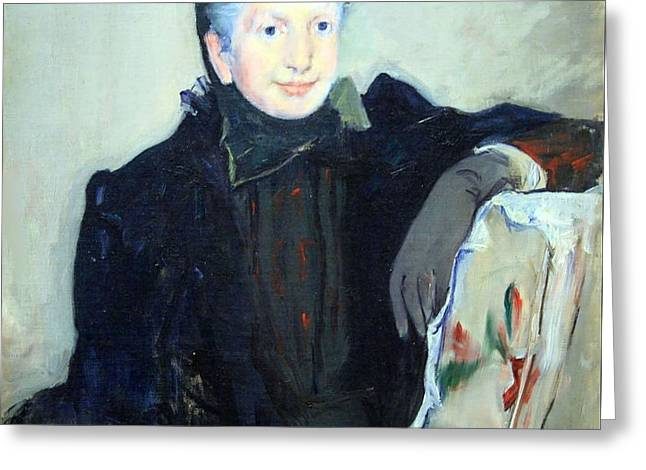 Lady Washington Greeting Cards - Cassatts Portrait Of An Elderly Lady Greeting Card by Cora Wandel
