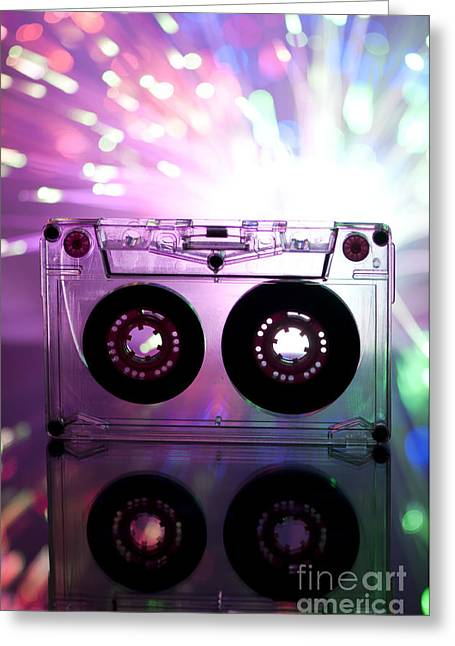 Casette Greeting Cards - Cassette tape and multicolored lights Greeting Card by Deyan Georgiev