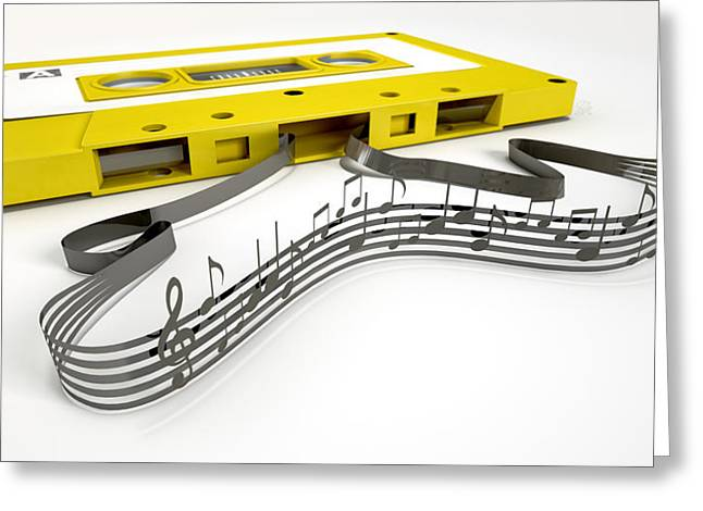 Clef Greeting Cards - Cassette Tape And Musical Notes Concept Greeting Card by Allan Swart