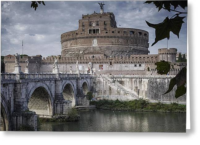 Angel Blues Greeting Cards - Castel Sant Angelo Greeting Card by Joan Carroll