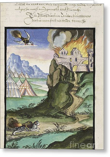 Castles Burning Greeting Cards - Cat And Bird Carrying Firebombs, 1607 Greeting Card by Folger Shakespeare Library