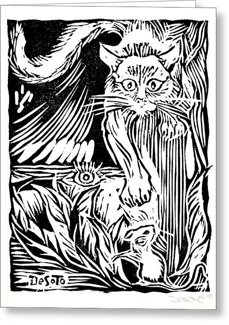 Print Making Mixed Media Greeting Cards - Cat and Mouse Greeting Card by Ben De Soto