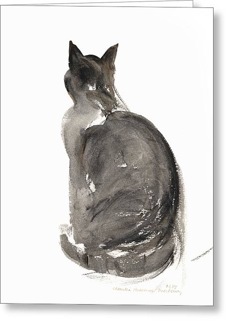 Cat Prints Paintings Greeting Cards - Cat Greeting Card by Claudia Hutchins-Puechavy