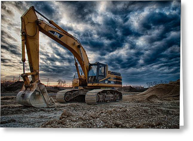 Bulldozer Greeting Cards - Cat Excavator Greeting Card by Mike Burgquist