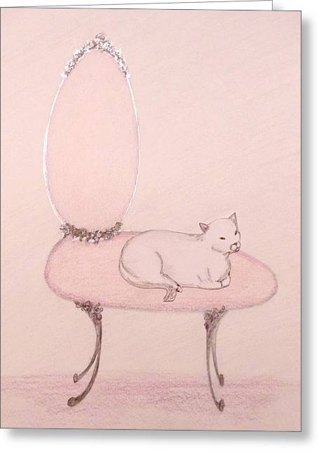 Interior Still Life Pastels Greeting Cards - Cat on a Vanity Chair Greeting Card by Christine Corretti